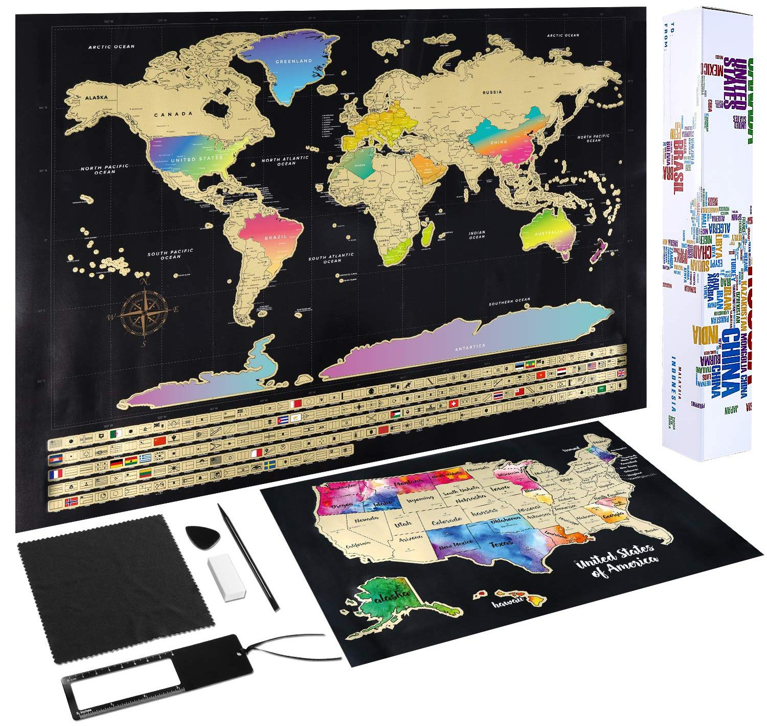 Scratch Off Map of The World (2-in-1)